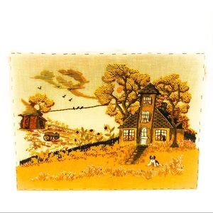 VINTAGE HAND EMBROIDERED PICTURE PANEL FLOWER Fall